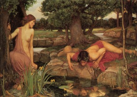 Waterhouse, John William: Echo and Narcissus. Mythical Fine Art Print/Poster. Sizes: A4/A3/A2/A1 (00840)
